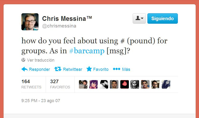 Primer Tweet ChrisMessina