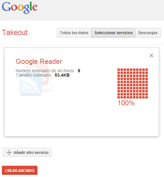 Descarga de Fichero Google Reader