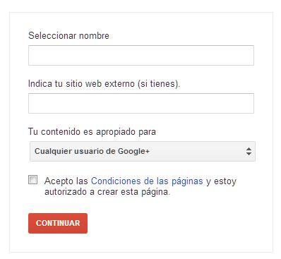 Nombre Página google +