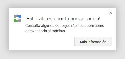 Bienvenida Página google +