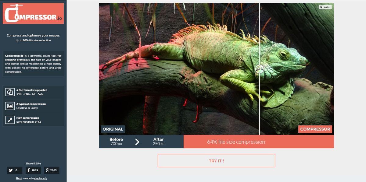 Captura de inicio del sitio Web compressor.io